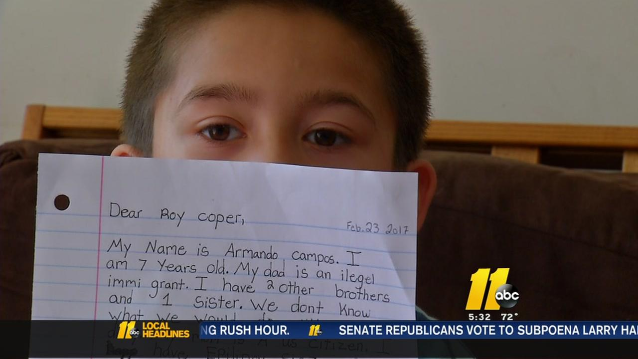 Boy pens letter to Gov. Cooper over deportation fears