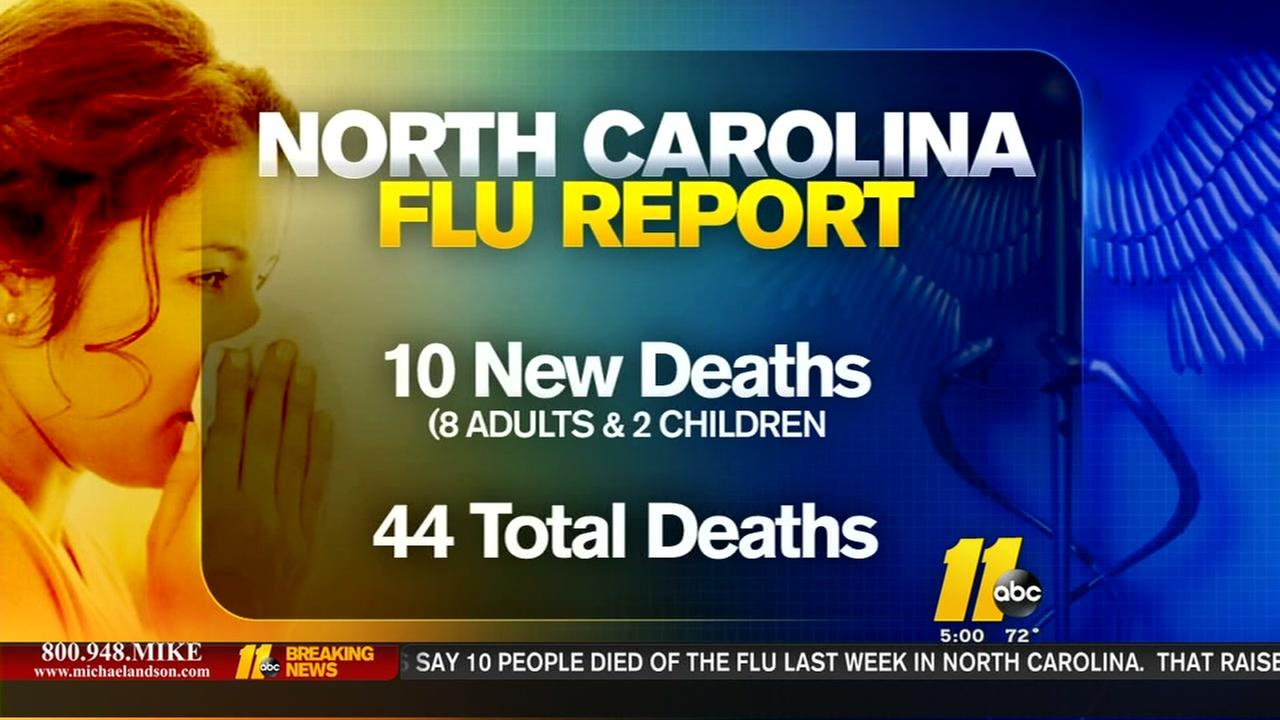 Ten new flu deaths in NC