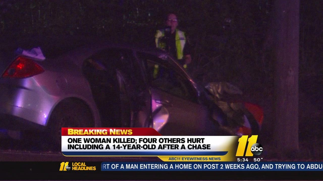 Garner Police chase ends in Raleigh crash with 1 dead, 4 injured