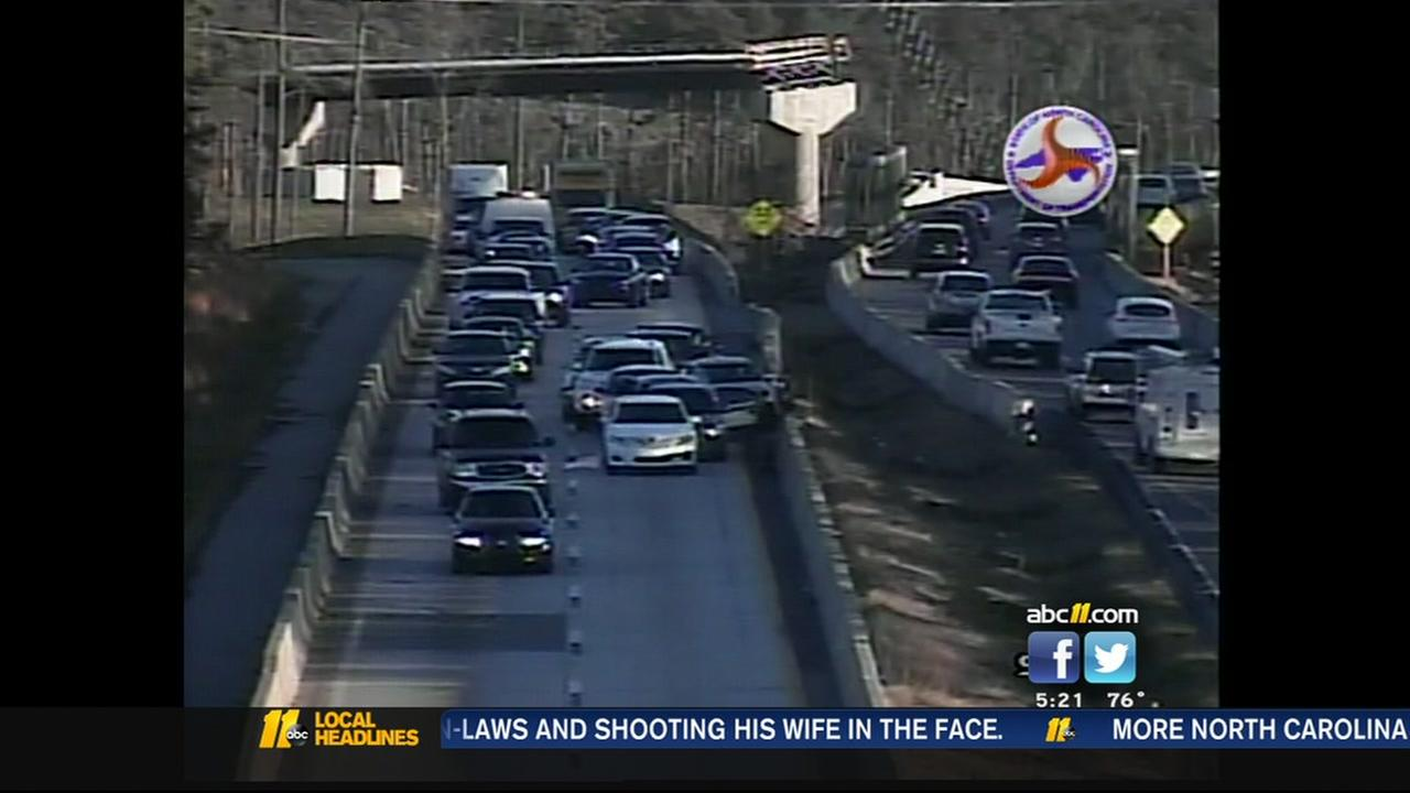 Chain-reaction crash ties up Durham Freeway
