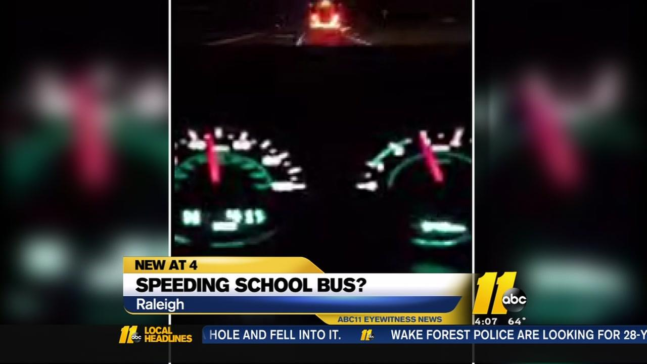 Was school bus speeding in Raleigh?