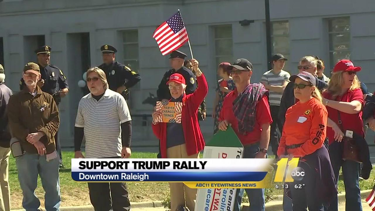 Supporters rally in Raleigh for President Donald Trump