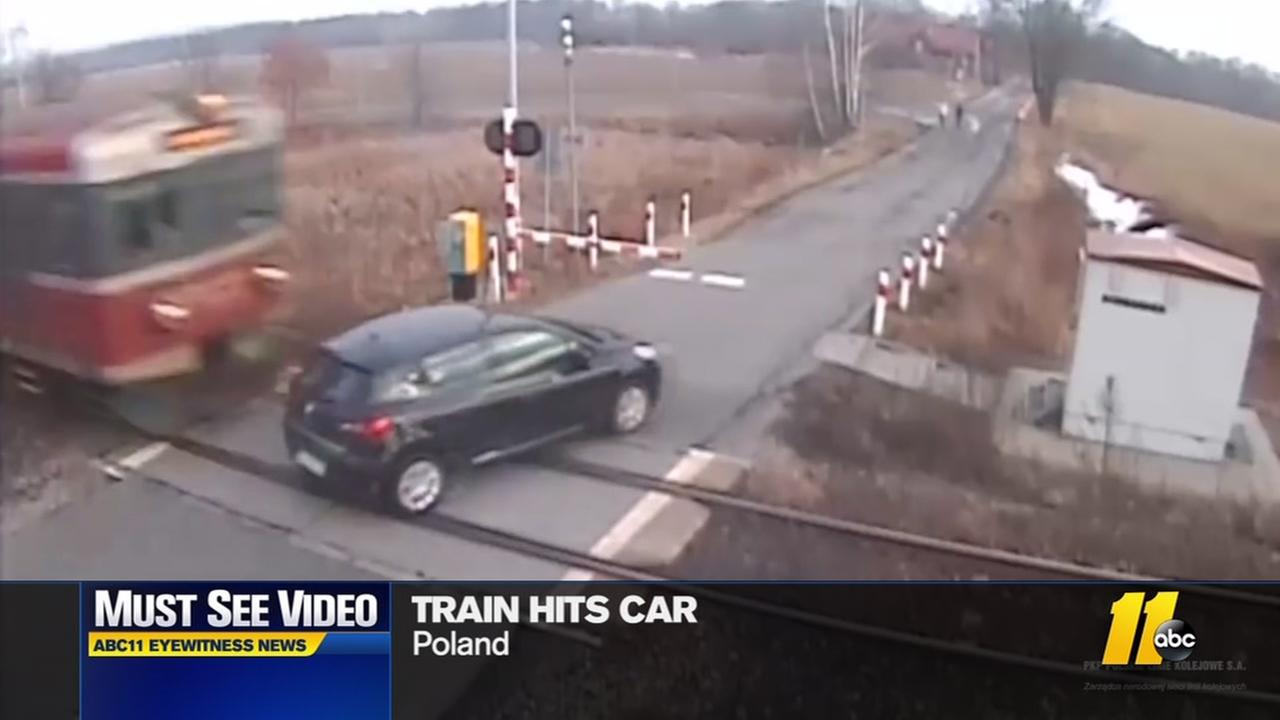 Train hits car