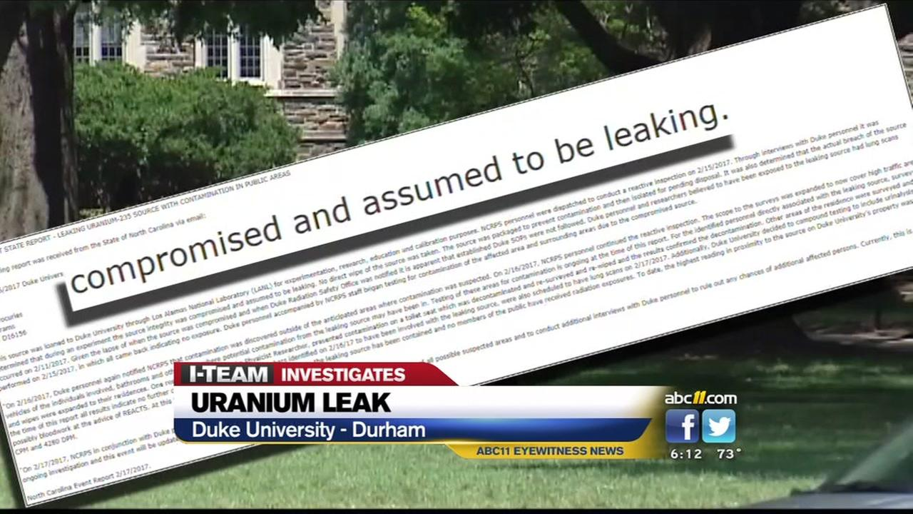 Uranium leak at Duke University