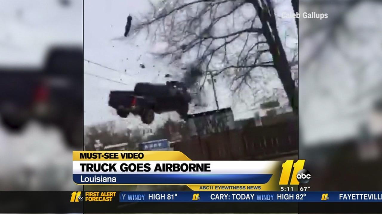 Truck goes airborne in Louisiana