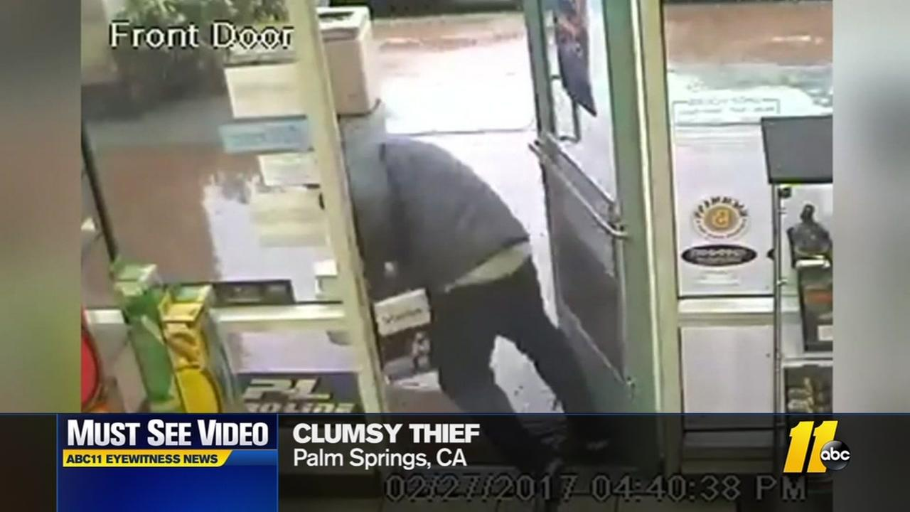 Clumsy thief caught on camera