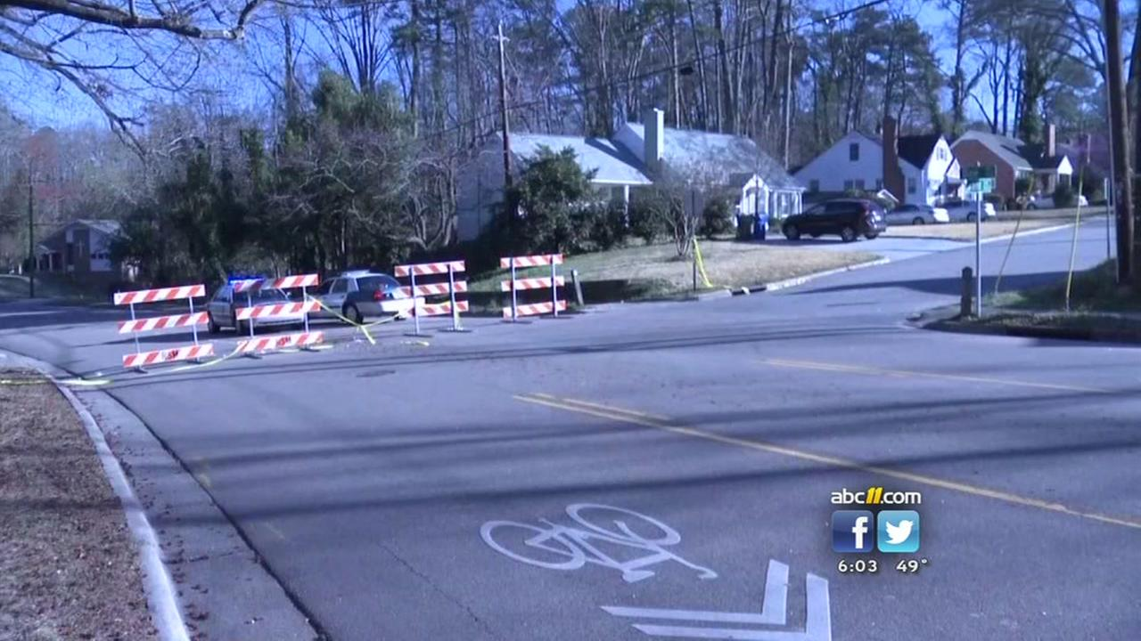 Water main break closes road in Raleigh
