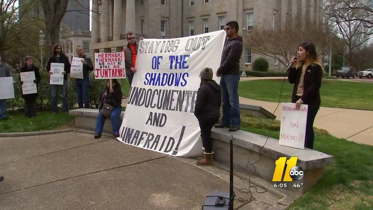 Immigrants demonstrate in Raleigh