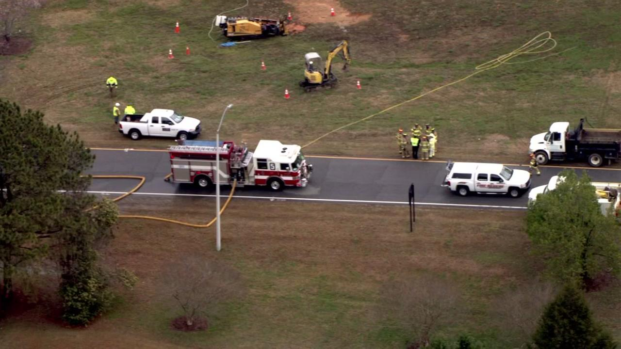 US-70 shut down in Garner because of natural gas leak