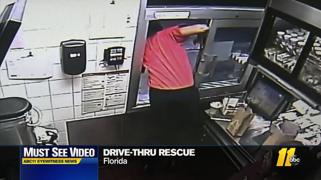 Drive-through rescue caught on camera