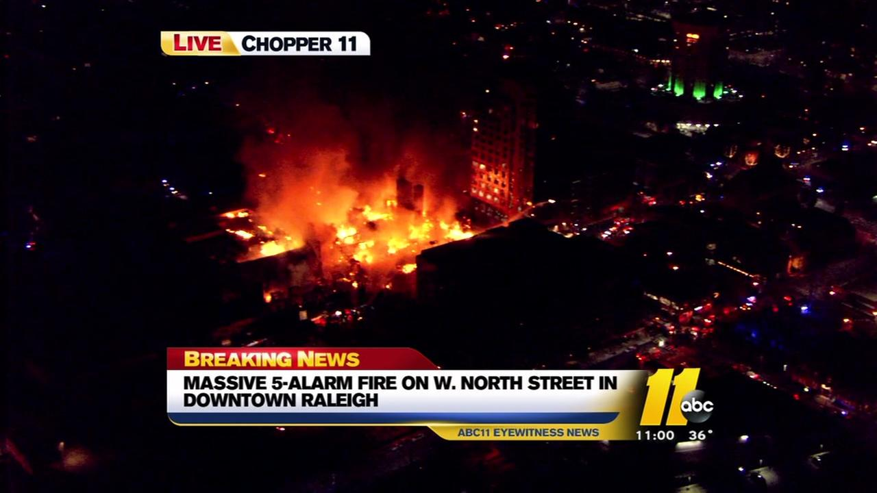 Massive fire in downtown Raleigh