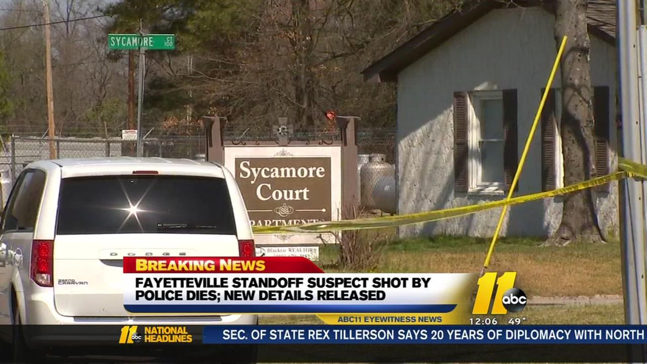 Fayetteville standoff suspect shot by police dies