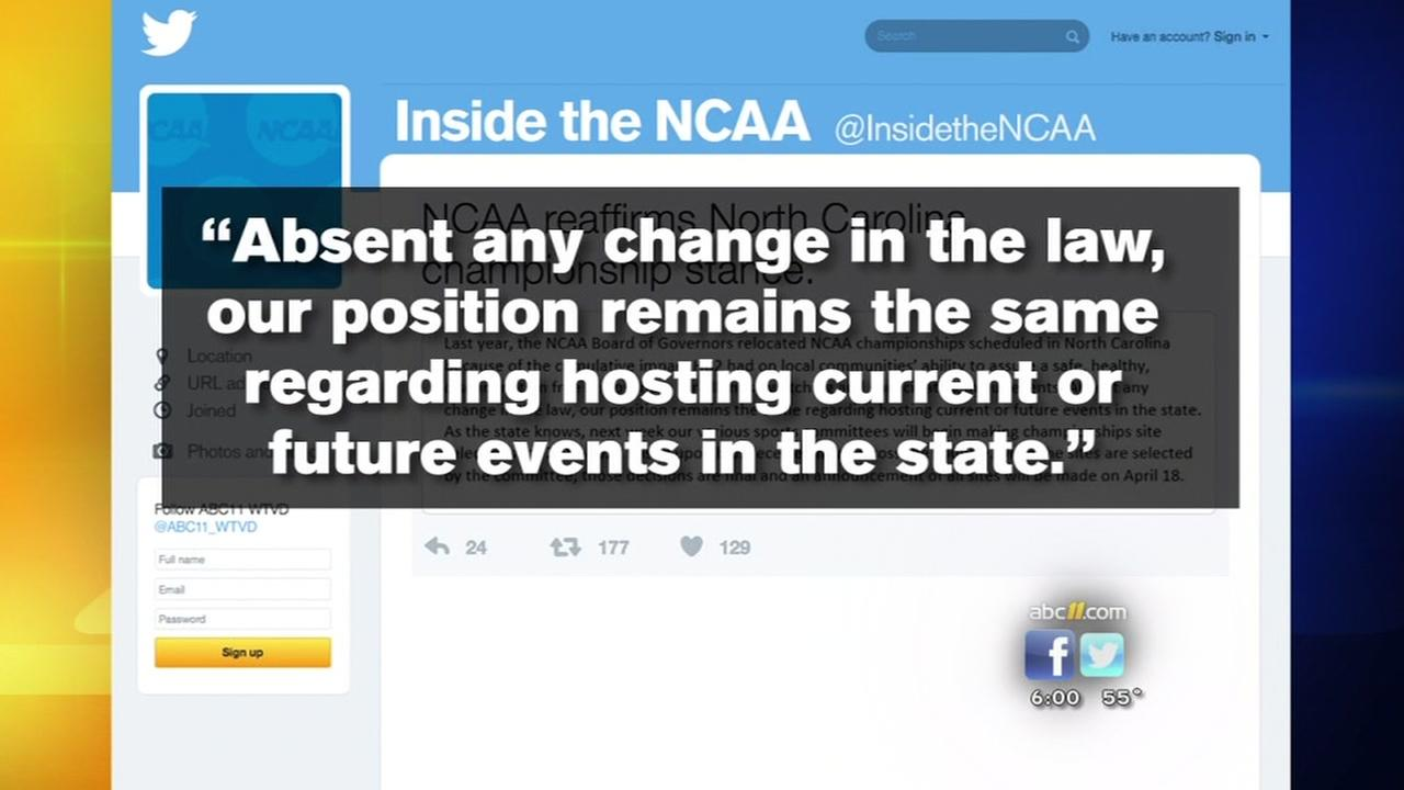 On anniversary of HB2, NCAA stance remains same