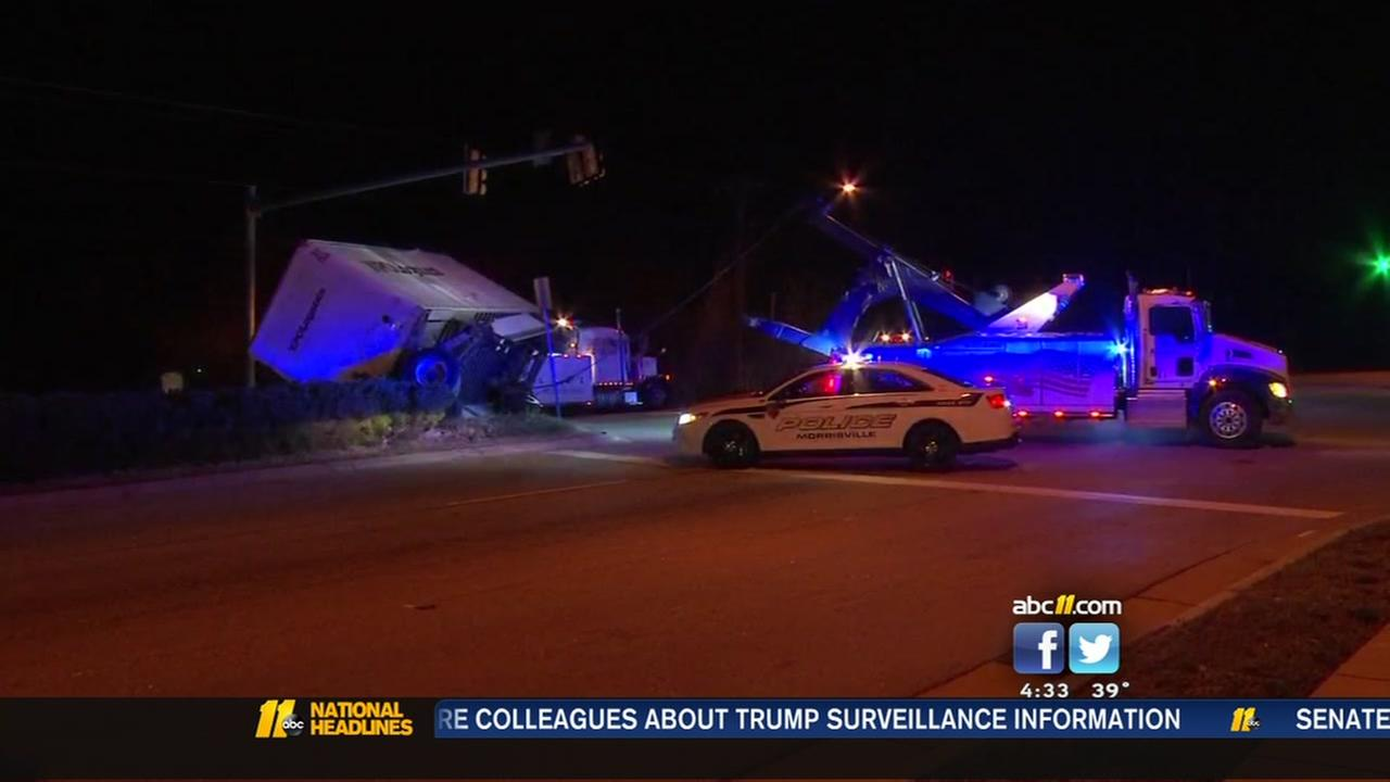 Tractor-trailer rolls over in Morrisville
