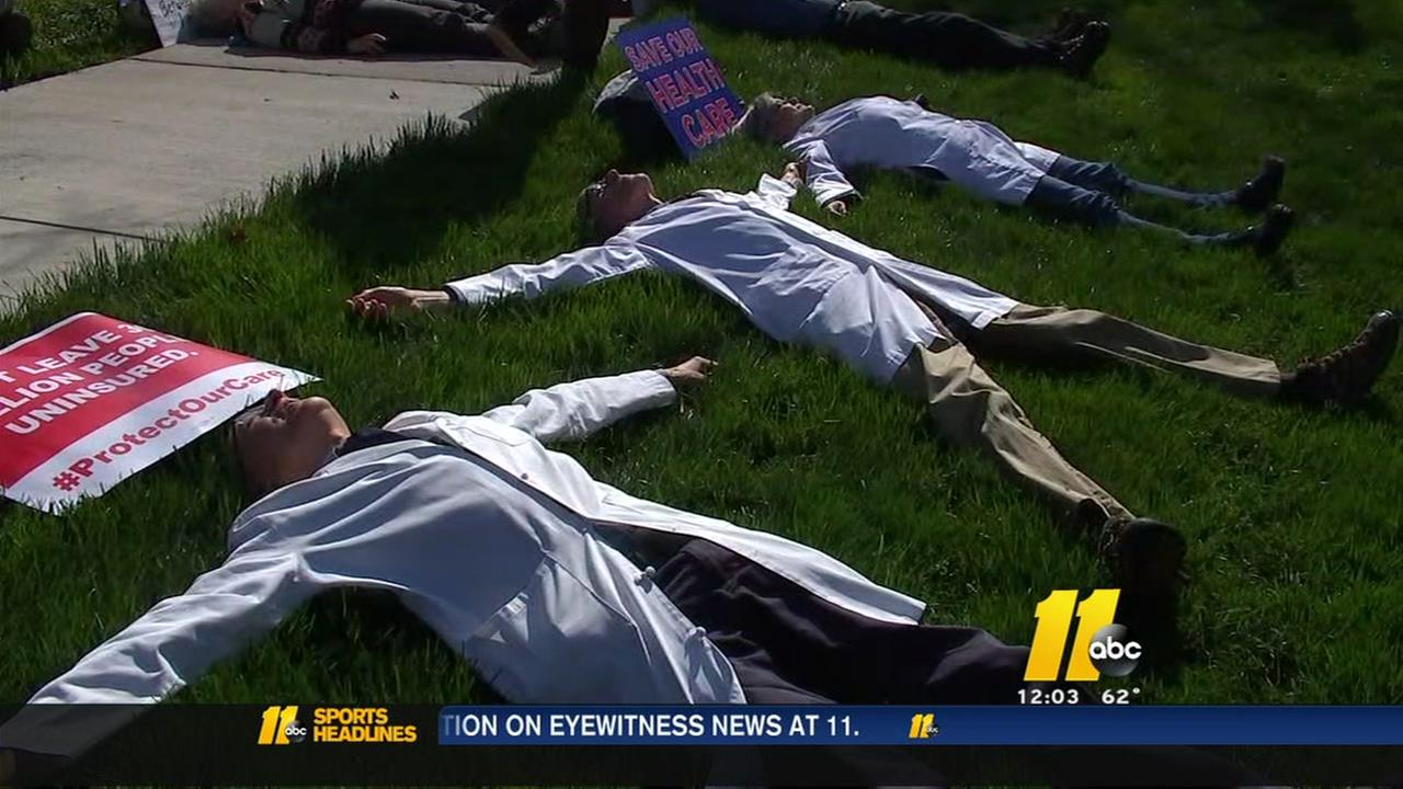 Protestors die-in at Duke over Obamacare repeal
