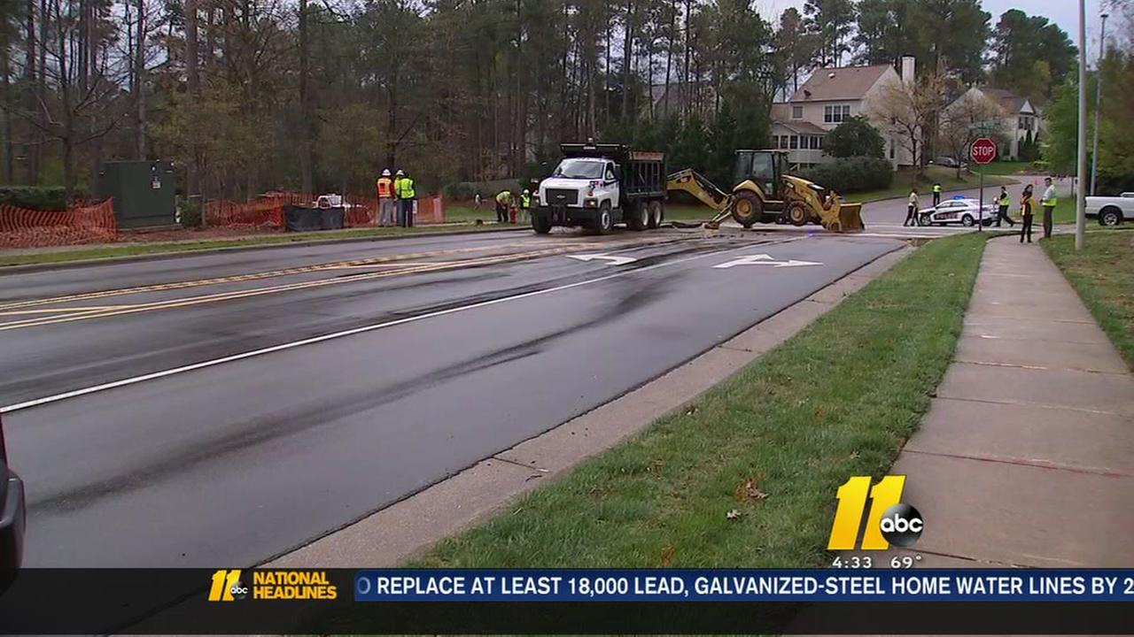 Water main break repairs continue to block Cary road