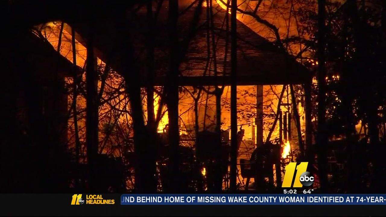 Family escapes as fire destroys Wake County home