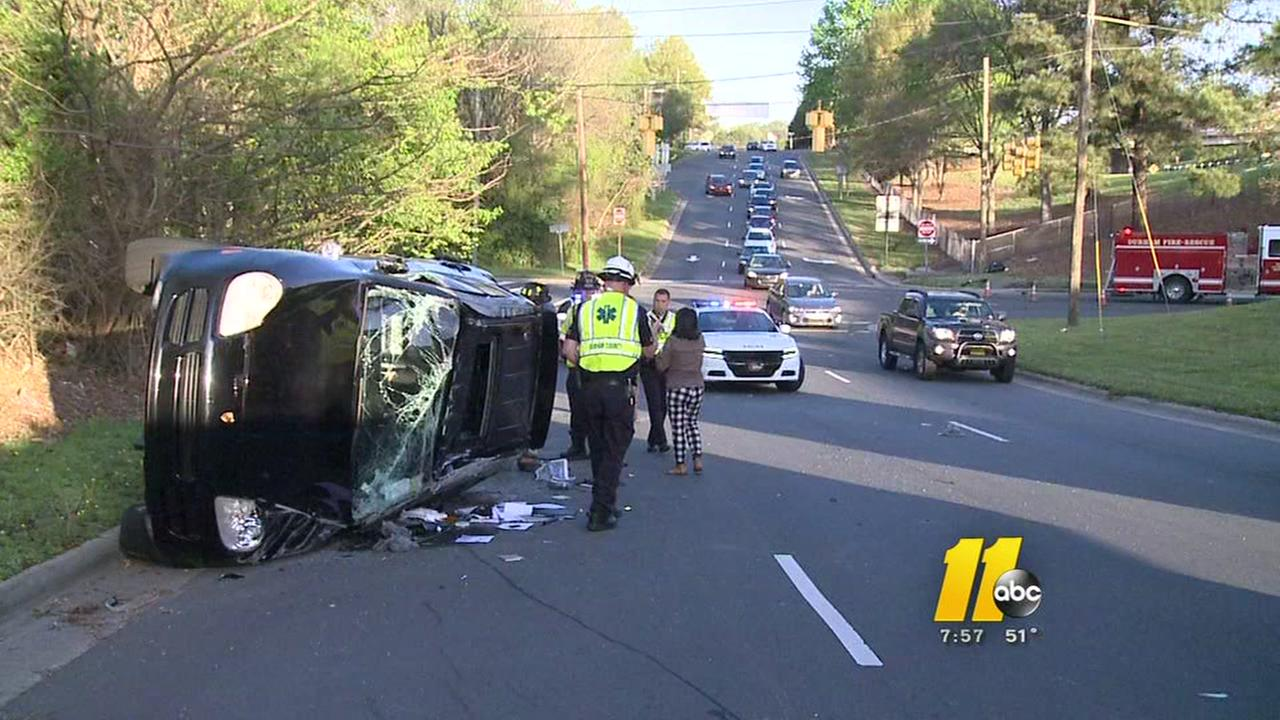 Person hurt after SUV rolls over in Durham