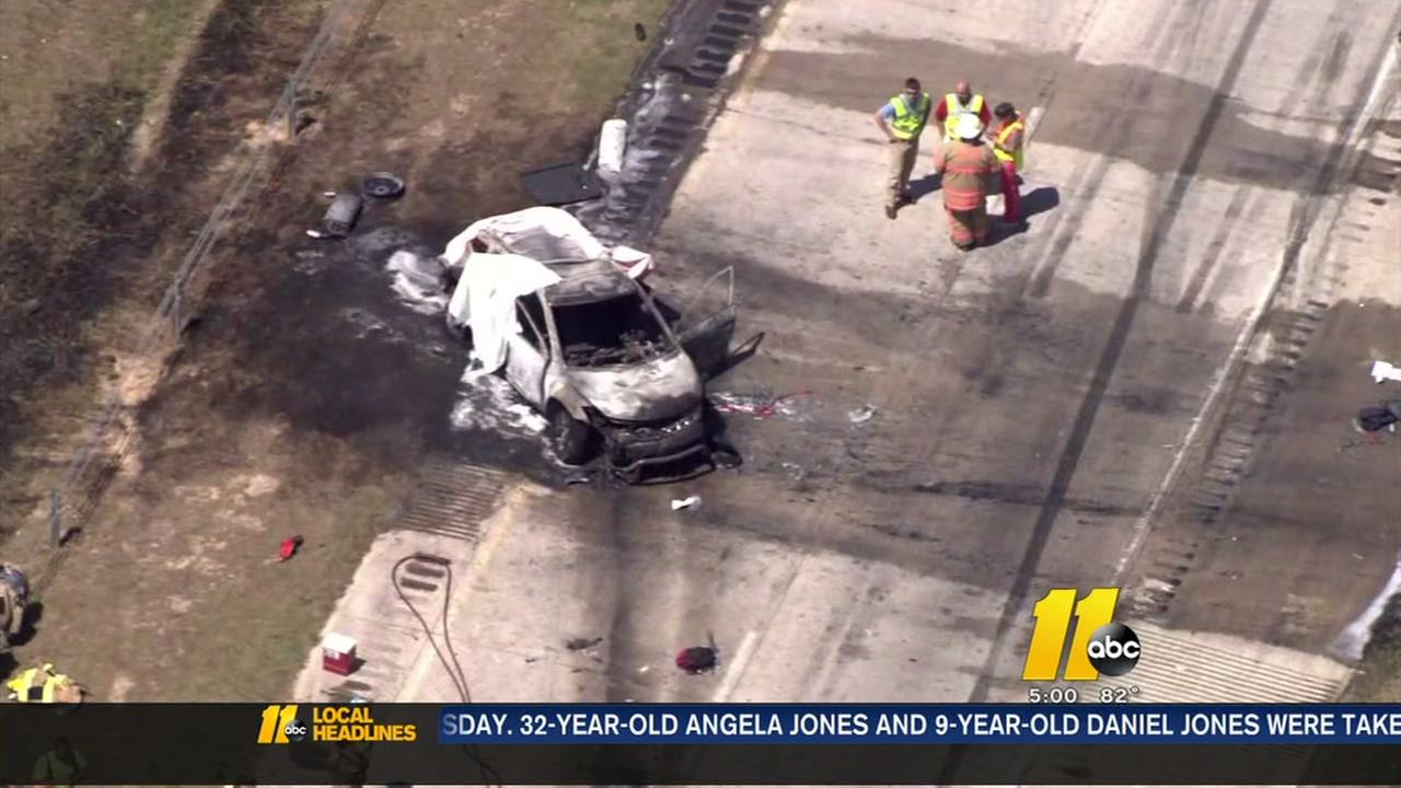 Child dies in fiery crash in Johnston County