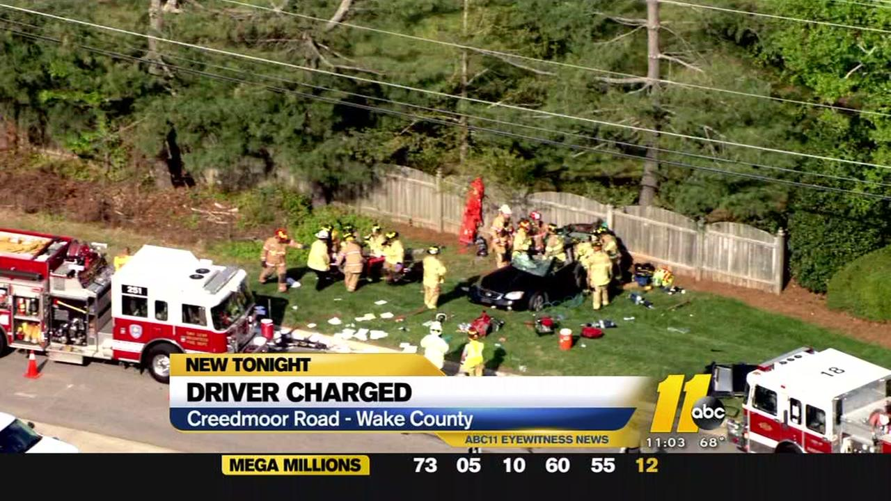 Driver charged in Creedmoor Road wreck