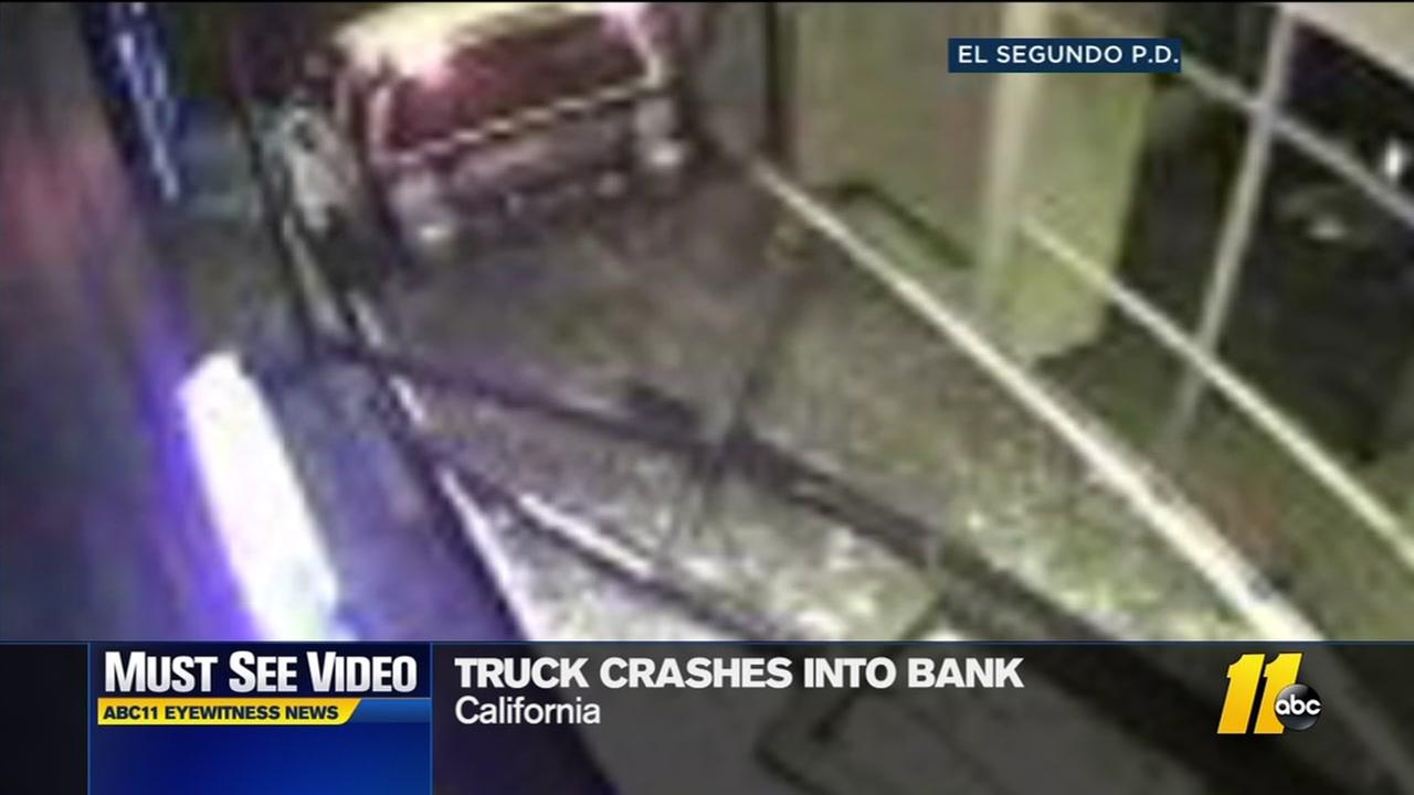 Truck crashes into bank