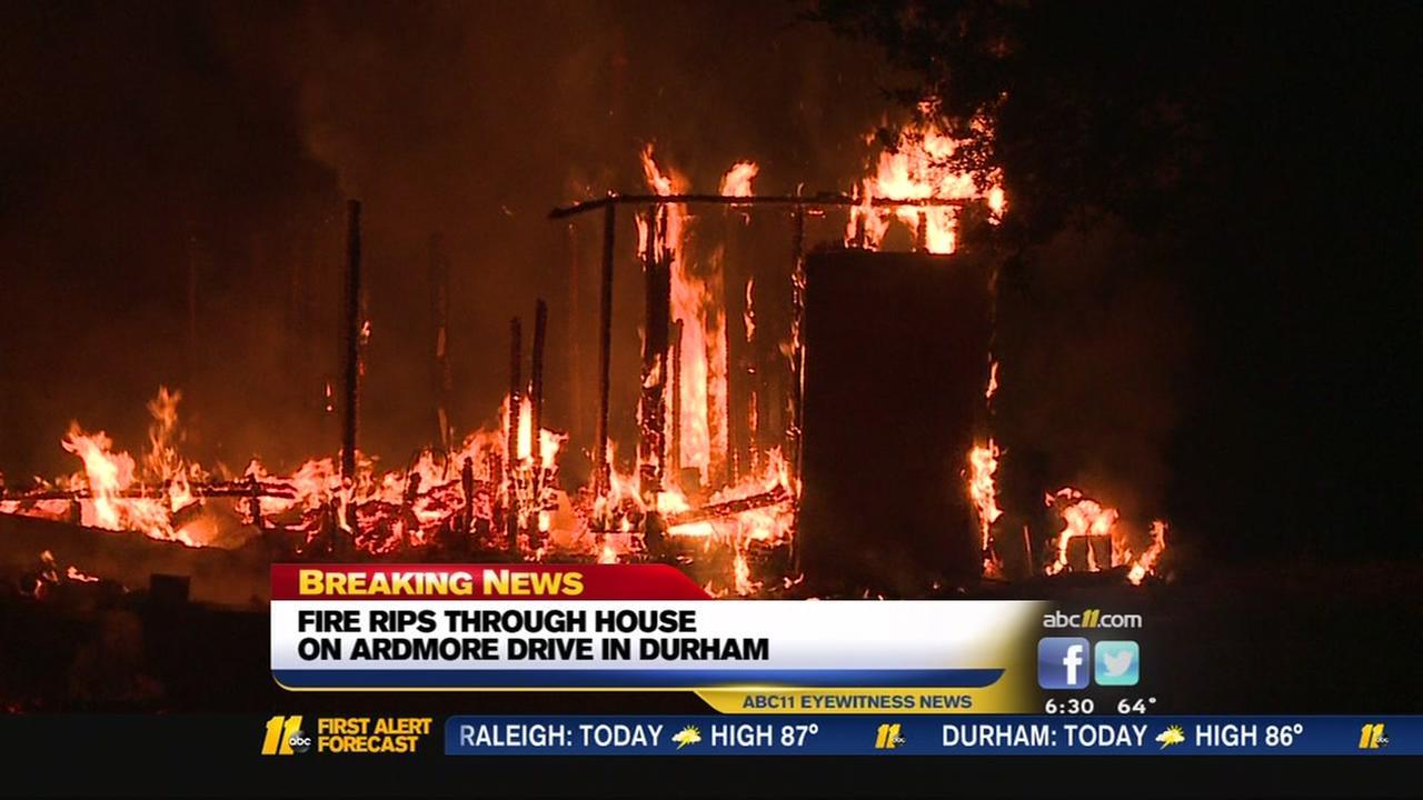 Fire ripes through Durham house