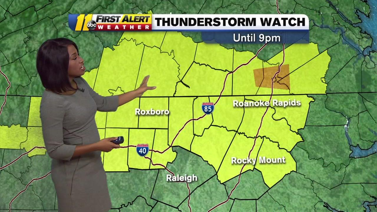 Severe thunderstorm watch issued for multiple NC counties.