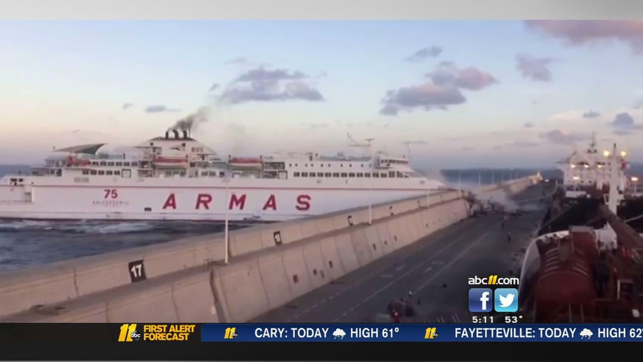 Ferry slams into pier
