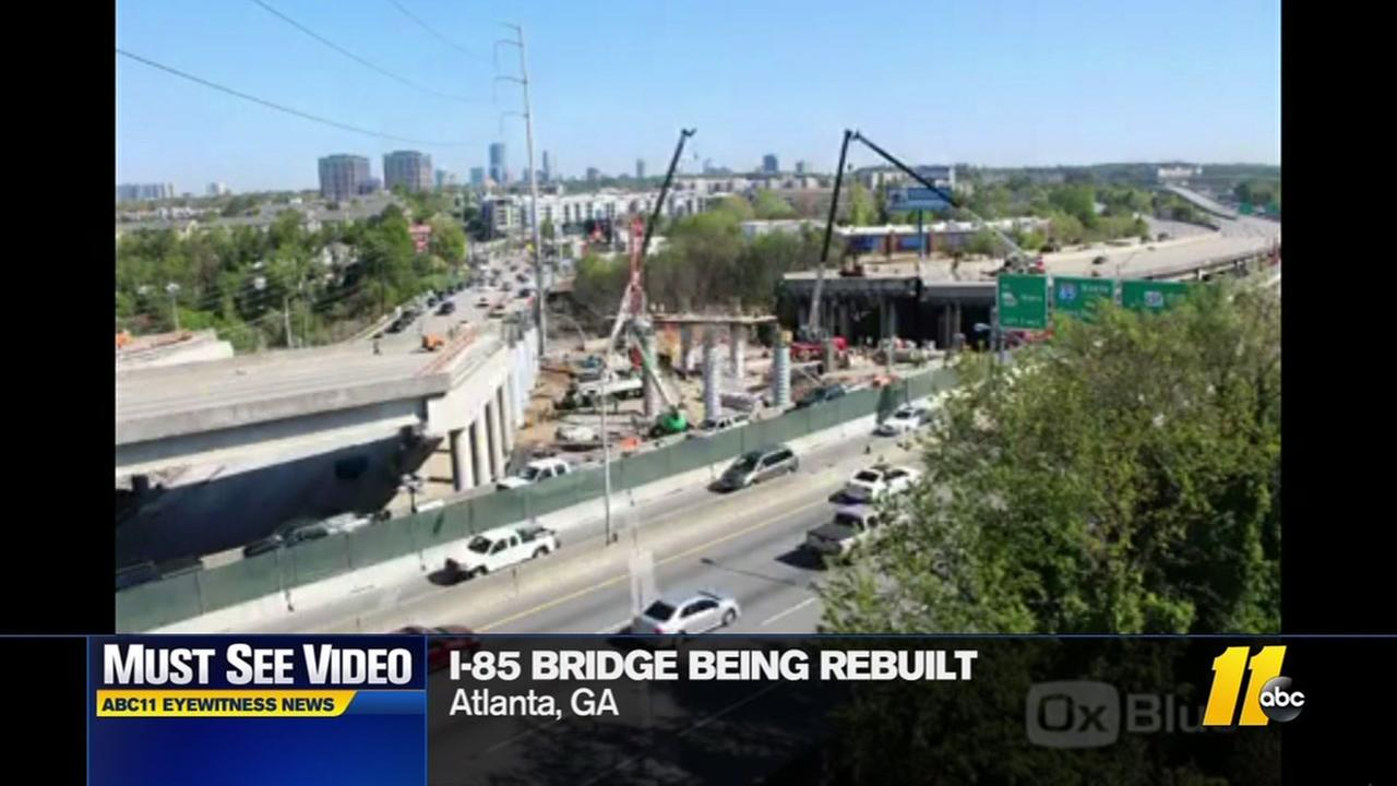 Time lapse shows I-85 being rebuilt