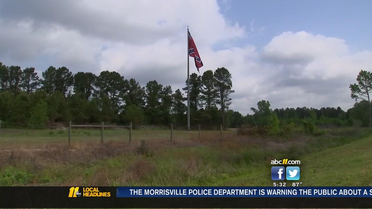 Confederate battle flag flies high in Cumberland County