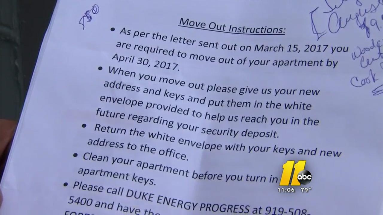 Residents stunned at move-out notices
