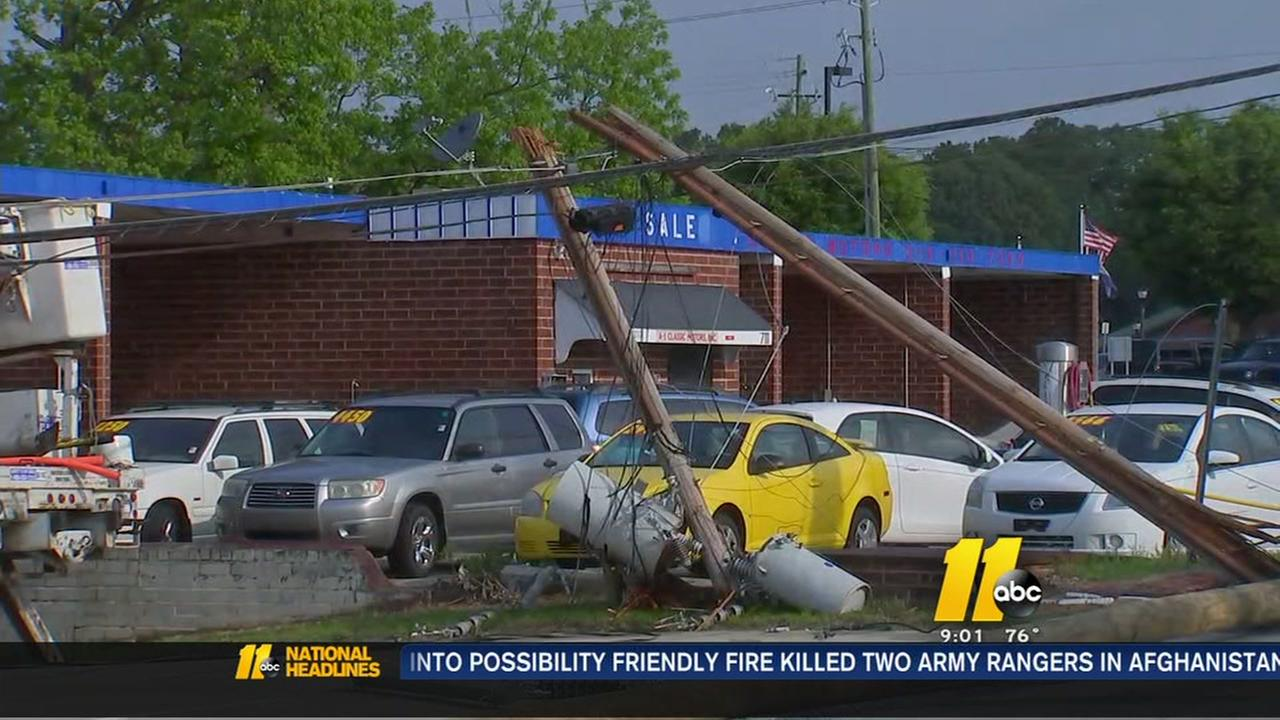Truck takes down power lines