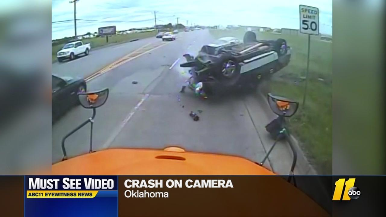 Stunning crash caught on camera