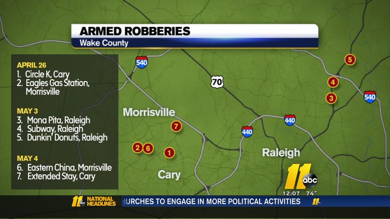 Armed robberies in Wake County