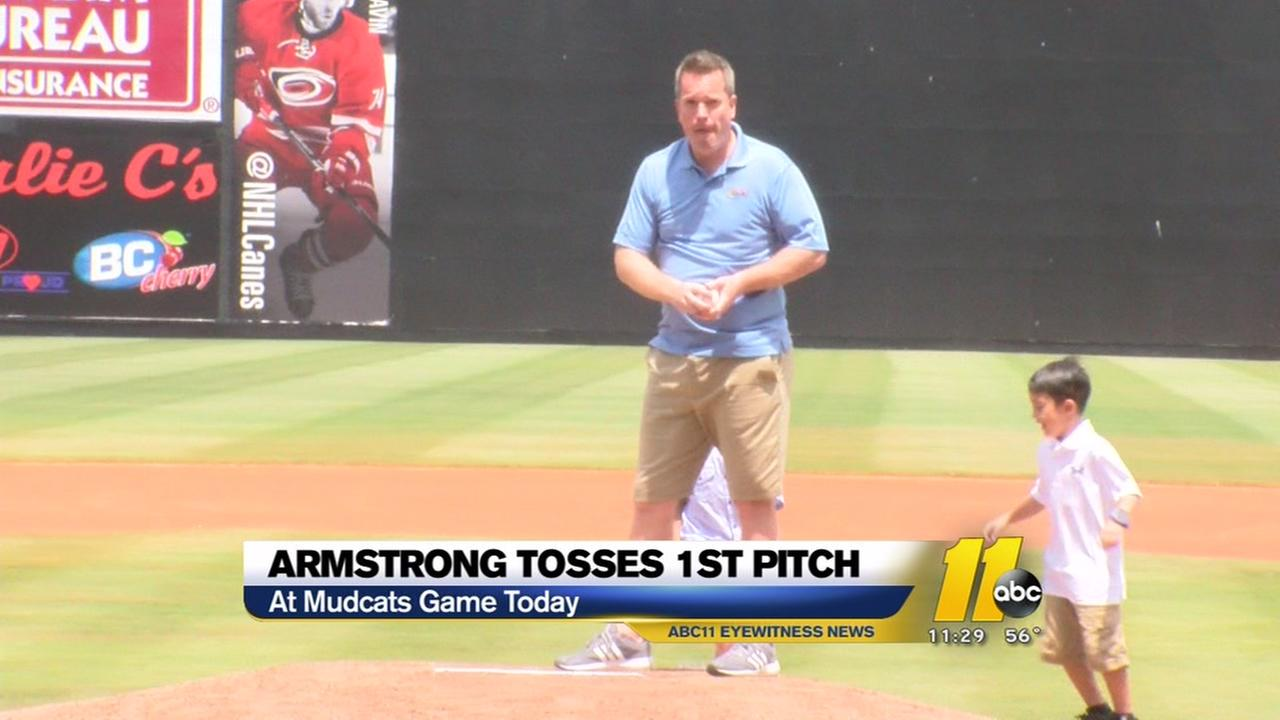 Mark Armstrong tosses first pitch at Mudcats game