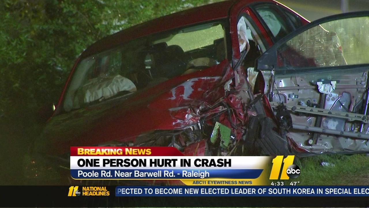 Driver injured after sideswiping car in Raleigh