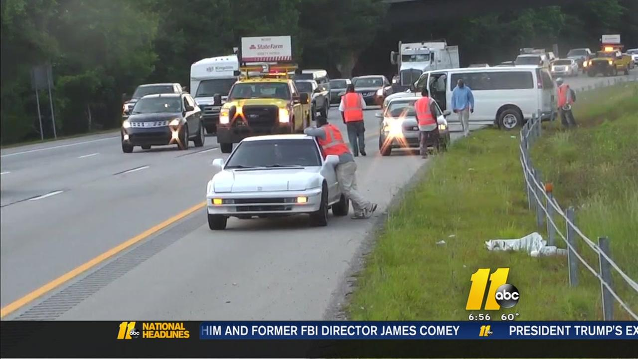 Crash closes several lanes of I-40 in Wake Co.