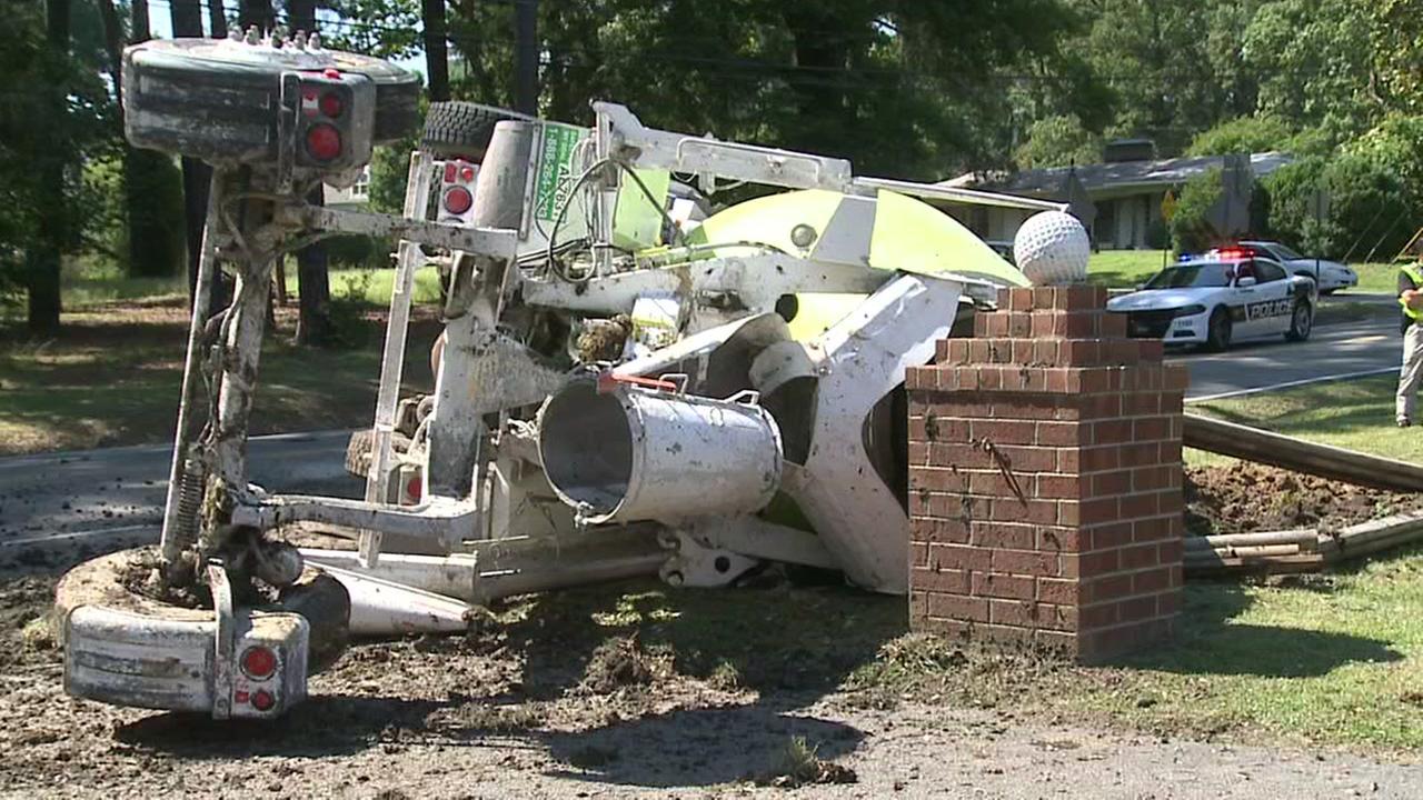 Concrete truck flips in Durham