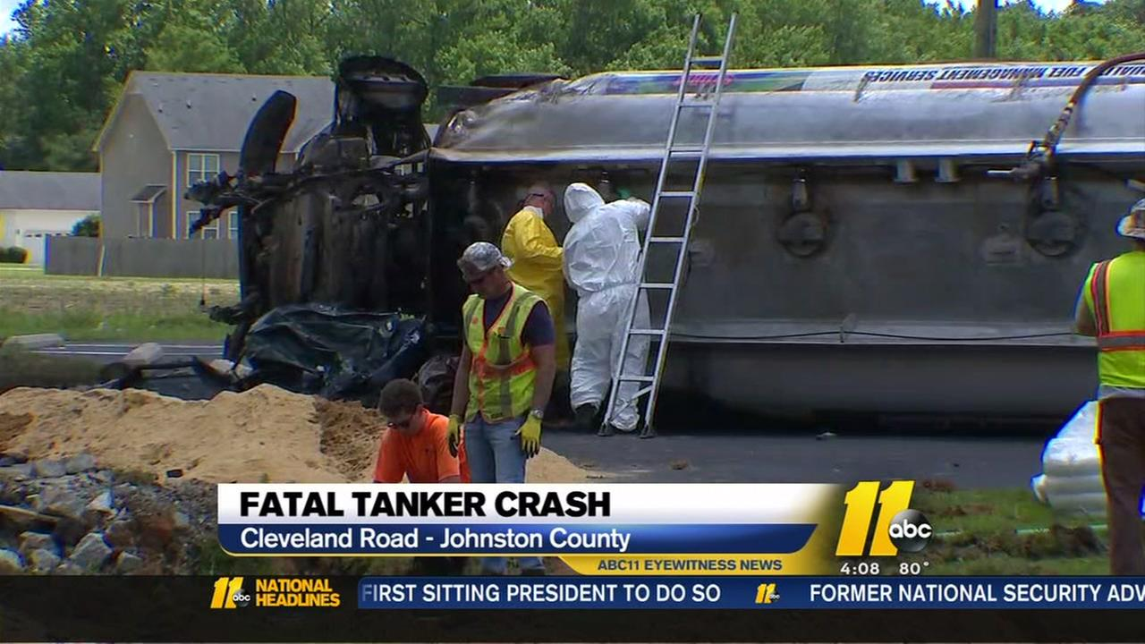 Fatal tanker crash in Johnston County