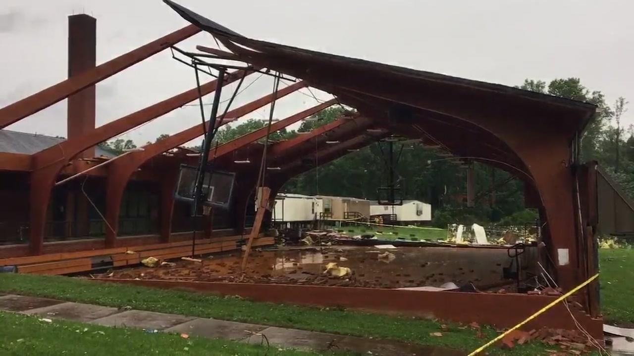Raw video of damage at a Yadkin County elementary school.