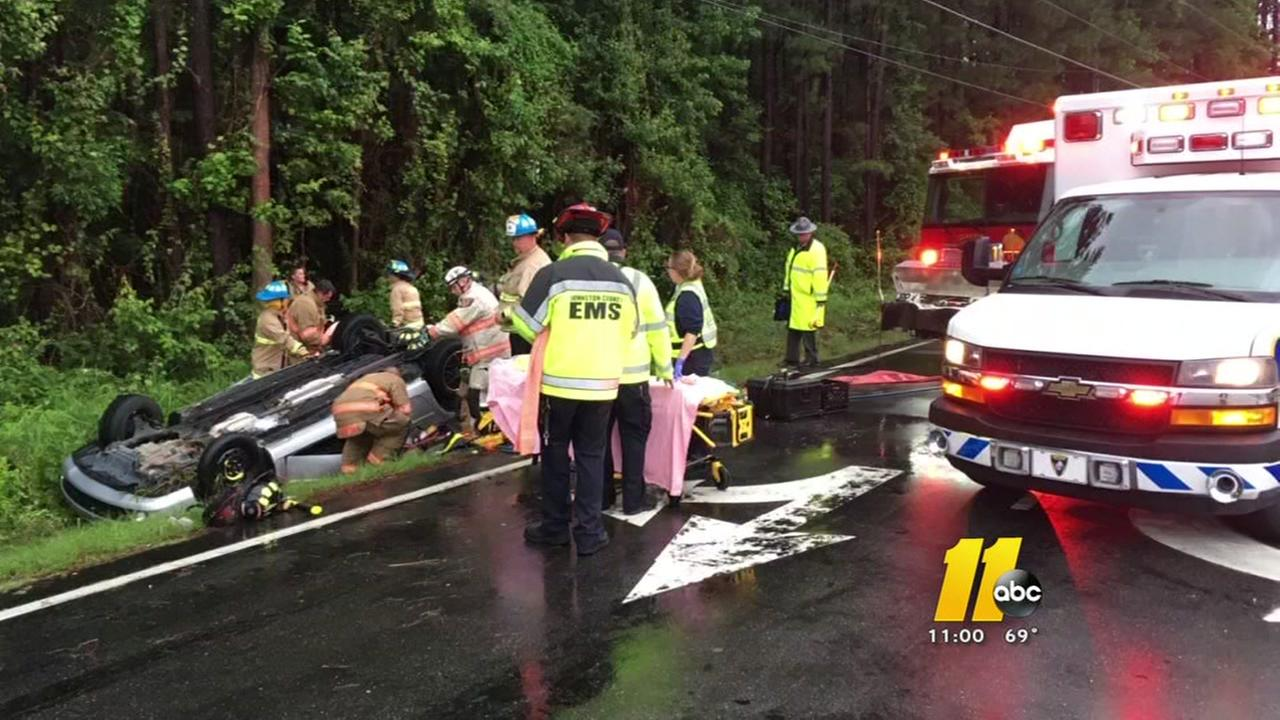 Woman rescued from flipped car in Clayton