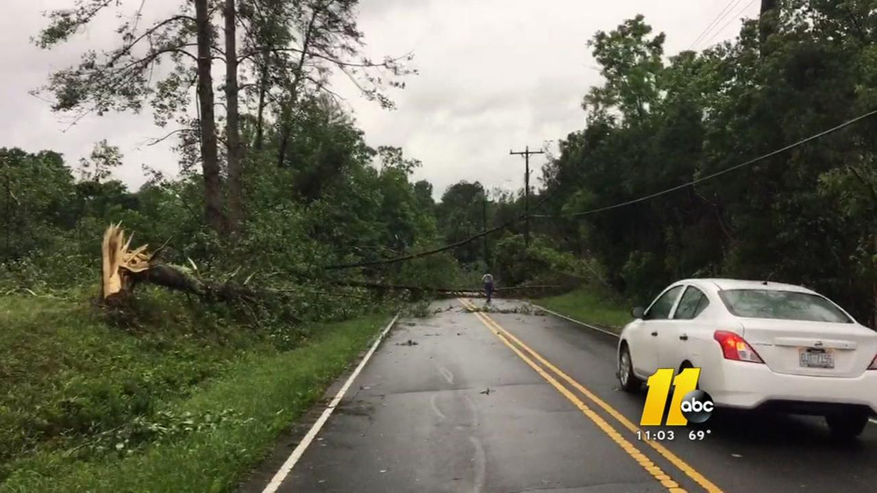 Triangle is spared, but areas west suffer damage