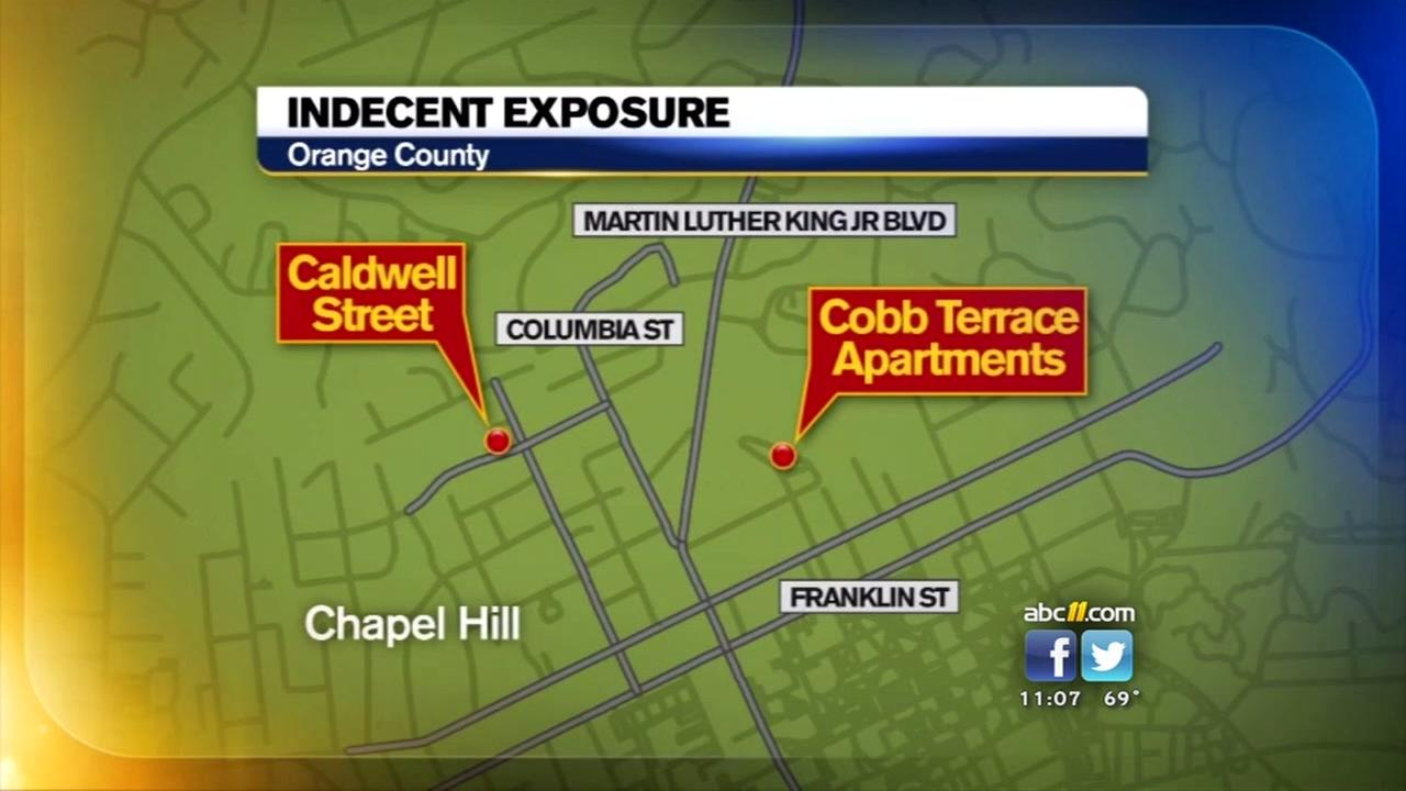 Two incidents of indecent exposure were reported in Chapel Hill.