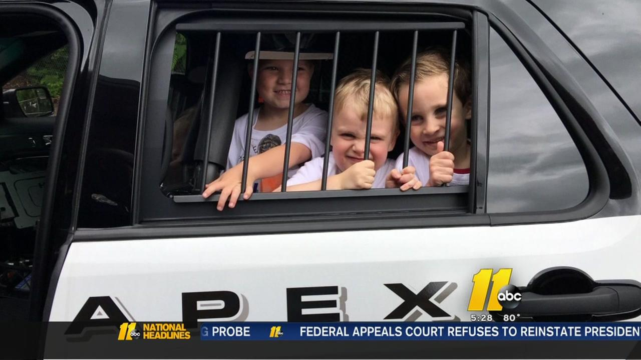 5-year-old celebrates birthday with Apex Police