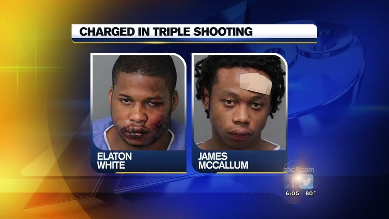 Two charged in triple shooting