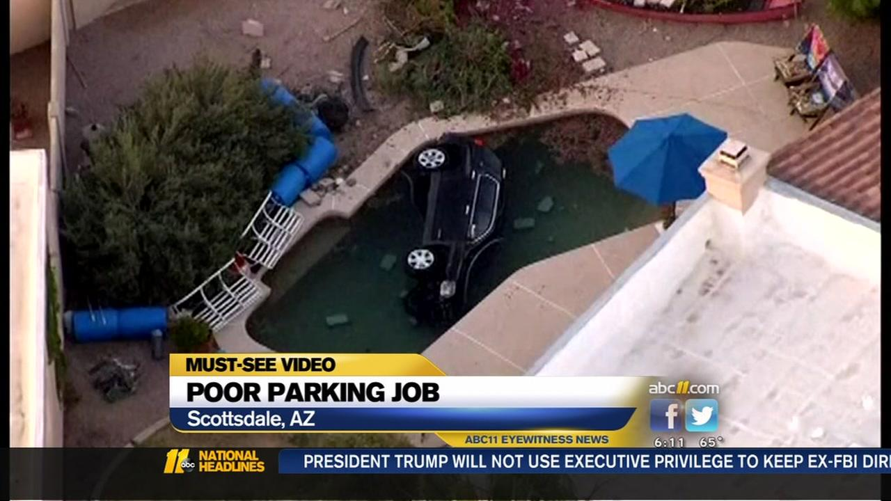 An Arizona man lands in a pool