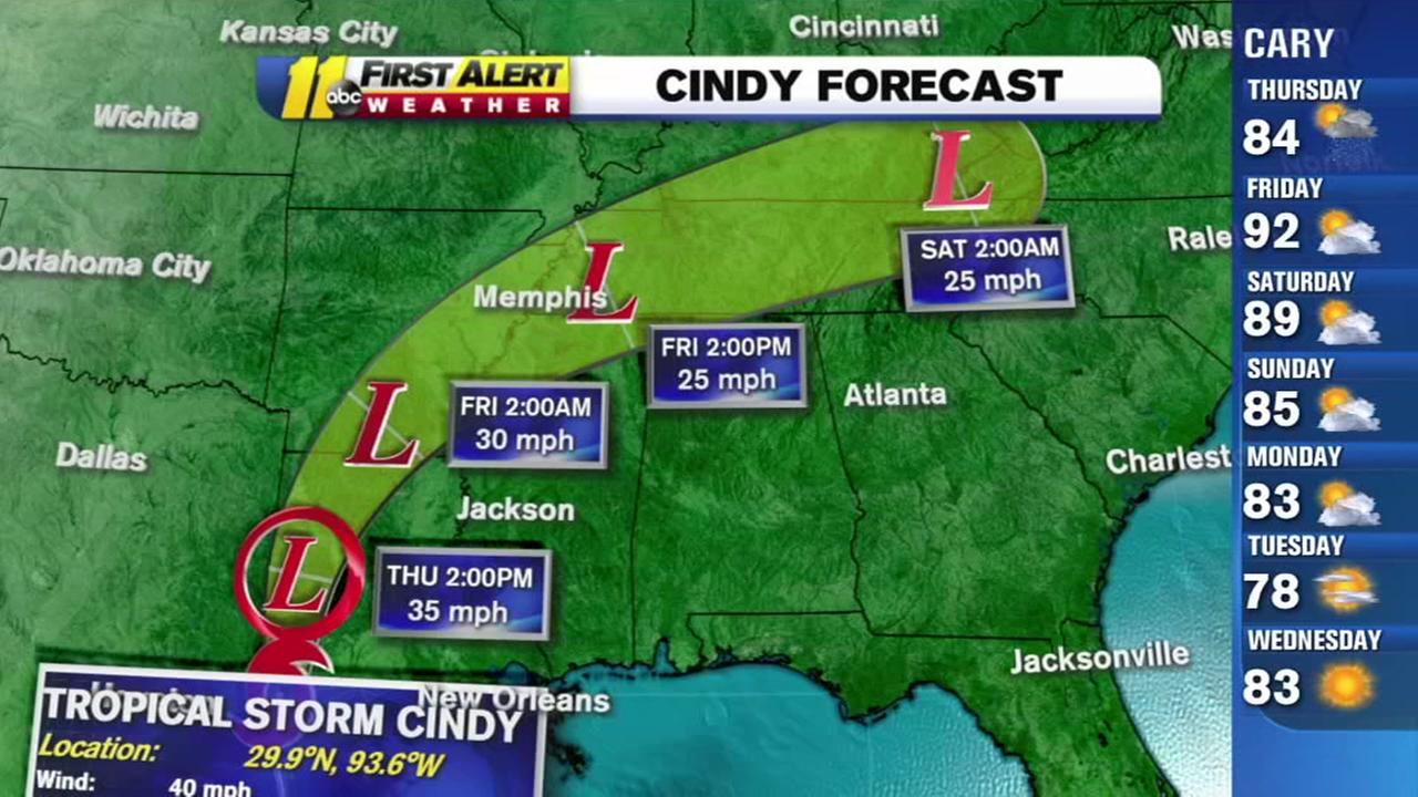 Tropical Storm Cindy could pass north of the Triangle