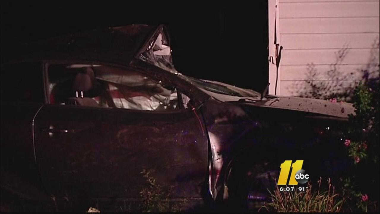 Driver slams into Wake Forest home