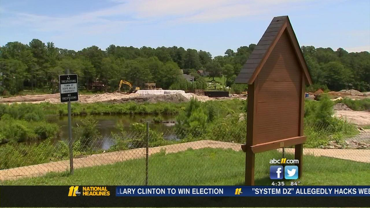 Hope Mills dam construction almost complete
