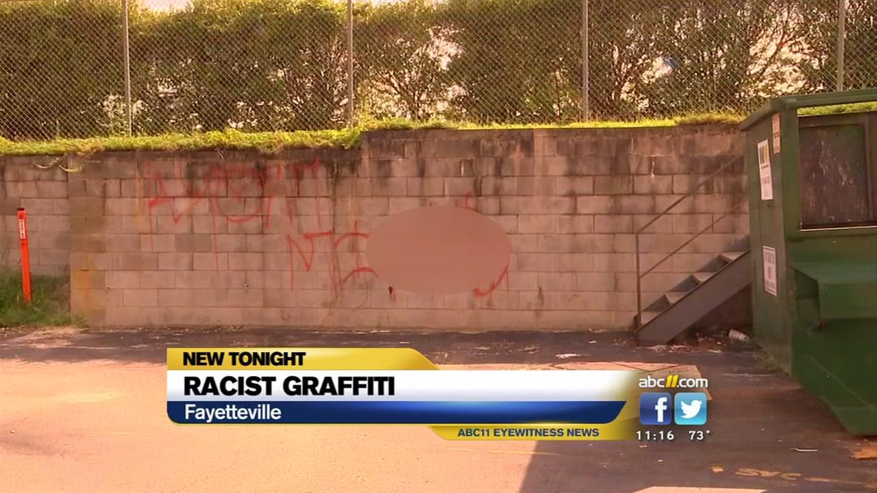 Offensive graffiti shows up in Fayetteville shopping center